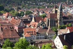 Esslingen am Neckar widoki od Grodowego Burg blisko Stuttgart, Baden Obrazy Royalty Free