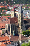 Esslingen am Neckar widoki od Grodowego Burg blisko Stuttgart, Baden Zdjęcia Stock