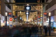 Esslingen zakupy bożonarodzeniowe światła Grudnia 2016 Uliczny wakacje Obraz Stock