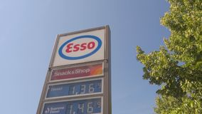 Esso gas prices stock video footage
