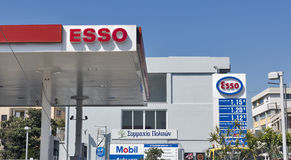 Esso gas station in Paphos, Cyprus. Royalty Free Stock Photography