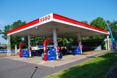 Esso petrol station, England. Exterior of an Esso petrol filling station at St. Leonards-on-Sea in East Sussex, England on May 23, 2018. Founded in 1912 in the stock photography