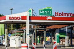 ESSO petrol station in Hamburg, Germany. 13.10.2018. HAMBURG, GERMANY. ESSO petrol station. Esso is a trading name for ExxonMobil and its related companies royalty free stock photos