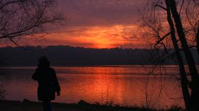 Essonne France in december 2018: Silhouette of a girl in winter in front of a lake at sunset with trees without foliage. A women walking in beautiful landscape stock photos
