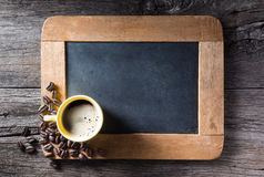 Esspresso cup on slate Stock Photos