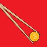 Essstäbchen, die Münze oder Geld halten Stockbilder