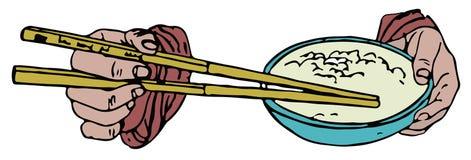 Essstäbchen und Reisschale Stockfoto