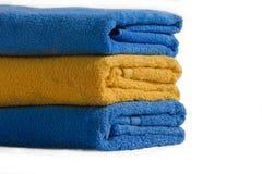 Essuie-main de bain trois dans la pile Photographie stock