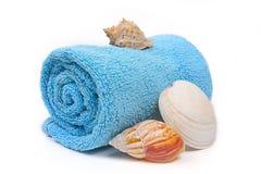 Essuie-main de plage bleu avec des seashells image stock