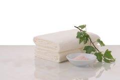 Essuie-main et sel rose Images libres de droits