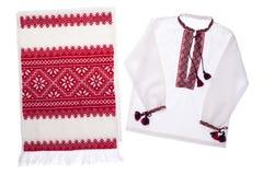 Essuie-main fabriqué à la main et chemise de symbole ukrainien national Image libre de droits
