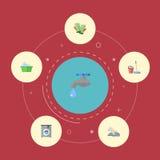 Essuyage plat d'icônes, serviette, blanchisserie et d'autres éléments de vecteur L'ensemble de symboles plats d'icônes d'hygiène  Image libre de droits