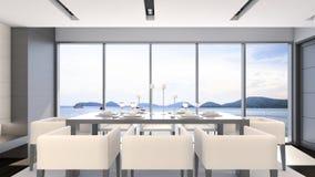 Esszimmer der Seeansicht mit Luxustabelle Wiedergabe einstellte/3D Stockfoto