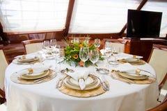 Esszimmer der Yacht Stockbild