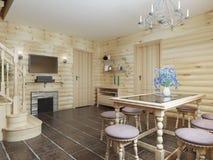 Esszimmer in einem Klotzinnenraum mit braunen Fliesen auf dem Boden und Lizenzfreies Stockbild
