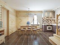 Esszimmer in einem Klotzinnenraum mit braunen Fliesen auf dem Boden und Stockbild