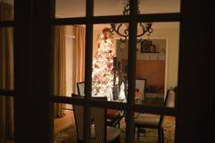 Esszimmer verziert für Weihnachten Stockfotografie