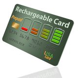 Está aqui um cartão de crédito pagado antecipadamente recarregável, recarregável ilustração royalty free
