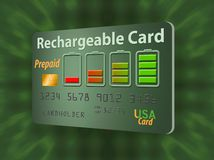 Está aqui um cartão de crédito pagado antecipadamente recarregável, recarregável ilustração stock
