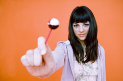 Está aqui um lollipop.   imagem de stock
