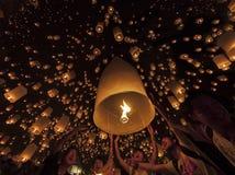 Está donde Tudongkasatarn flotando ceremonia de la lámpara Fotografía de archivo libre de regalías