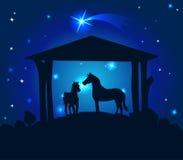 Estábulos com os cavalos na Noite de Natal com um céu estrelado atrás deles - vetor ilustração royalty free