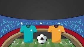 Estádio com fósforo de futebol dos uniformes contra a animação das equipes ilustração do vetor