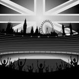 Estádio com skyline de Londres ilustração stock