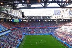 Estádio da tribuna em St Petersburg durante o futebol do campeonato do mundo foto de stock