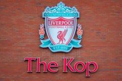 Estádio de Anfield, a terra home do clube do futebol de Liverpool no Reino Unido fotografia de stock