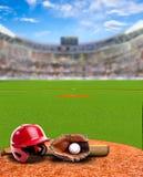 Estádio de basebol com espaço do equipamento e da cópia Fotografia de Stock Royalty Free