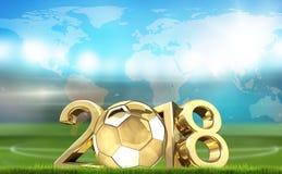 Estádio de futebol do futebol e renderi 3d dourado da bola 2018 do futebol Ilustração Stock
