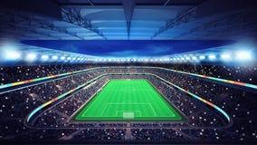 Estádio de futebol geral com os fãs nos suportes Foto de Stock