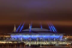 Estádio de futebol na noite para o campeonato do mundo 2018 de FIFA Rússia Fotos de Stock Royalty Free