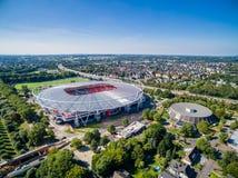 Estádio de futebol no sol, aéreo Foto de Stock Royalty Free