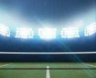 Estádio e campo de tênis fotografia de stock