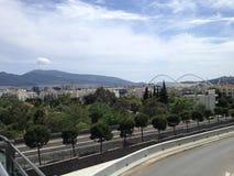 Estádio olybic da luz do dia de verão da cidade do céu azul de Atenas Imagem de Stock