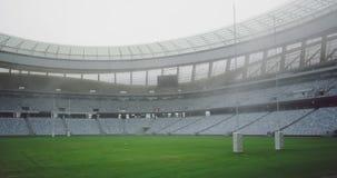 Estádio vazio do rugby na manhã 4k video estoque
