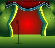 Estágio com cortina colorida Fotografia de Stock Royalty Free