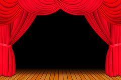 Estágio com a cortina vermelha aberta Imagem de Stock Royalty Free