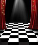 Estágio com cortinas vermelhas Fotografia de Stock
