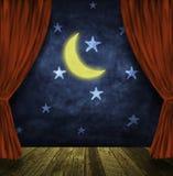 Estágio do teatro com lua e estrelas ilustração stock