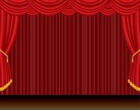 Estágio dramático da cortina vermelha ilustração do vetor