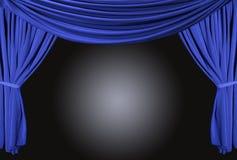 Estágio drapejado azul com luz do ponto imagens de stock royalty free