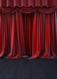 Estágio vermelho da cortina Fotografia de Stock