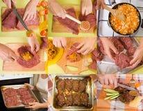 Estágios da carne enchida preparação fotografia de stock royalty free