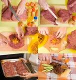 Estágios de cozinhar a carne enchida imagens de stock royalty free