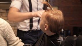 Están preparando a un pequeño niño para un corte de pelo en un ` s del peluquero almacen de video