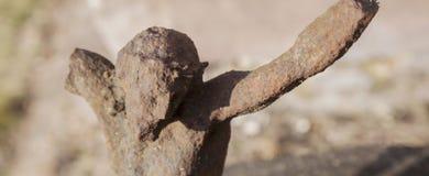 Estátua antiga destruída bonita do ferro da crucificação de Jesus de Nazareth - Jesus Christ fotografia de stock royalty free