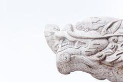 Estátua branca da cabeça do dragão Fotos de Stock Royalty Free